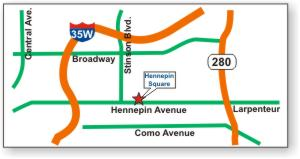 Minneapolis and St. Paul metro area map showing Hennepin Square convenient location